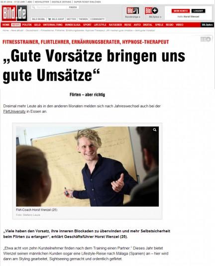 Gute Vorsätze für Dein neues Jahr. FlirtUniversity.de in der Bild Zeitung